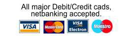 all major credit/debit cards, netbanking accepted. Delivery through DTDC.