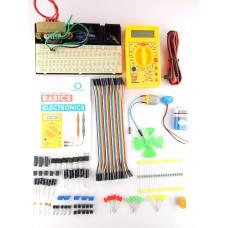 Basic of Electronics Kit with BreadBoard mount + component Tray + Robo India's Basic of Electronics Handbook