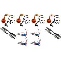 Quad rotor brushless DC motor kit (4 Bldc motor + 4 Propeller (2 clockwise + 2 anti-clockwise) + 4 ESC (Electronics Speed Controller))