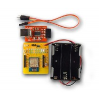 Wifi ESP8266 development board with FTDI USB to serial converter and battery holder for internet of things (IOT)