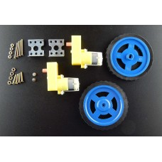 Robo India BO Motor 100 RPM 2 Pieces + BO Wheel 2 Pieces + BO Motor Clamp + Nuts Bolts 8 Sets + Screws 2 Pieces with User Manual