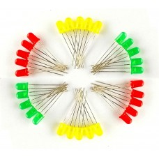 RED, YELLOW, GREEN - 5 mm LED each 10 pieces
