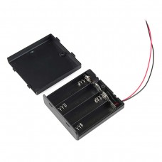 Battery Holder 4xAA with Wire, Cover and Switch